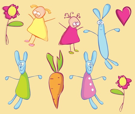 Rabbits, girls and carrot. Childrens stylized drawing  Vector