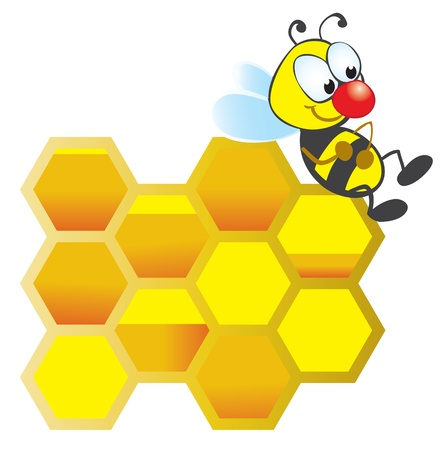 Resting bee and honeycomb with honey Stock Vector - 8985312