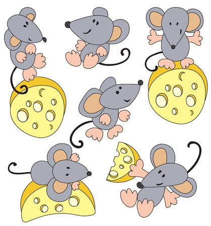Set - the mouse and cheese Stock Vector - 8985320