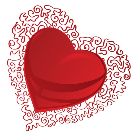 Red abstract heart Vector