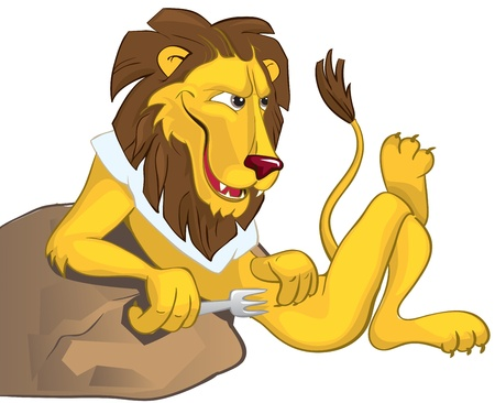 Hungry lion leaning on a stone Vector