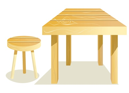 Wooden Furniture. Table and stool  Vector