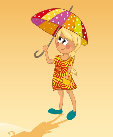 The girl and an umbrella from the sun Vector