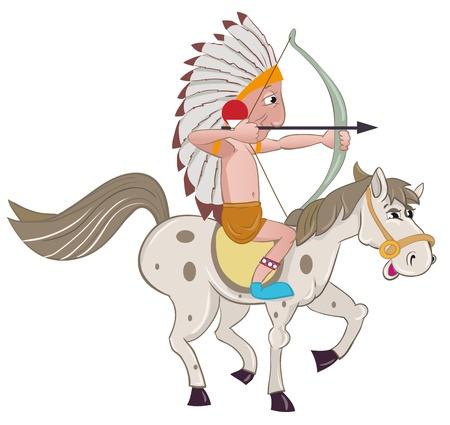 American Indian on horseback Vector