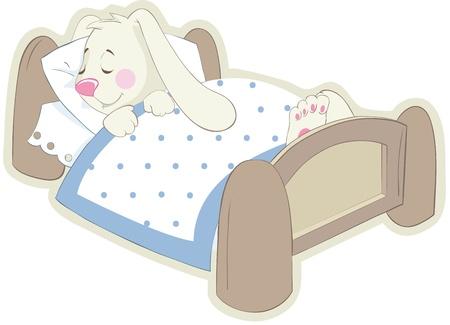 ベッドの中でウサギ。ベクトル ステッカー