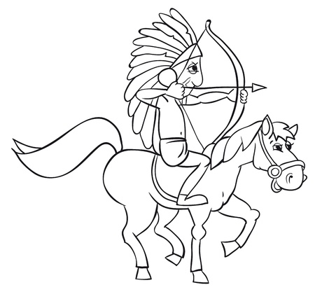 American Indian on horseback. B&W outline illustration Vector
