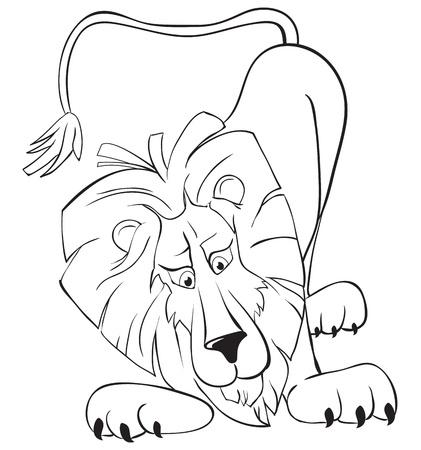 Surprised lion. B&W outline illustration Stock Vector - 9320403