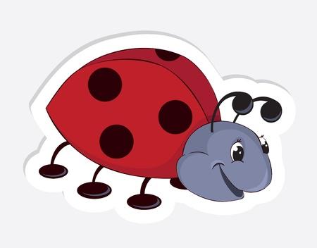 Fun cartoon ladybug. Vector Sticker Stock Vector - 9320398