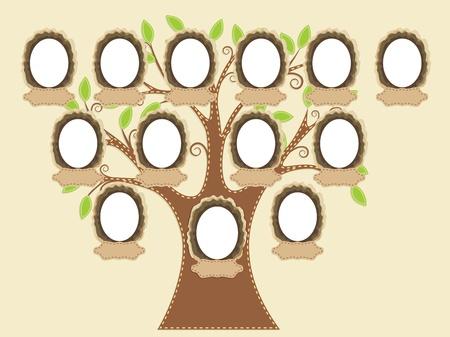 feuille arbre: Arbre g�n�alogique. Balises de nom et de cadres vides sont individuellement group�s. Vous pouvez facilement dupliquer ou supprimer au besoin.