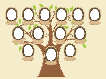 family picture: Family tree. Empty frames and name tags are individually grouped. You can easily duplicate them or remove as needed.