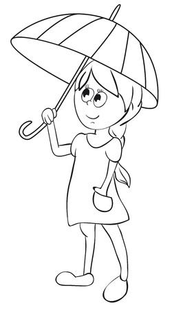 The girl with umbrella.  Stock Vector - 9400189