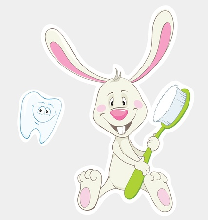 Bunny with toothbrush and happy tooth.  Illustration
