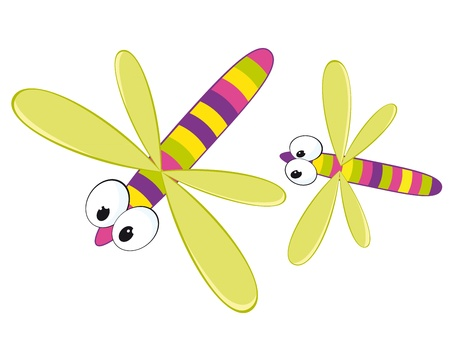 insect flies: Two cartoon dragonfly.