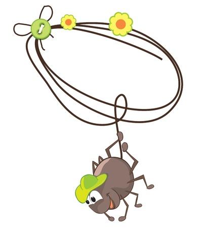 Cartoon spider and cobweb illustration Vector
