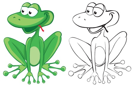 Funny frog. Color and B&W outline illustration Vector