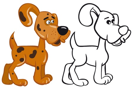 Fun dog image. Color and outline illustrations Stock Vector - 9480253