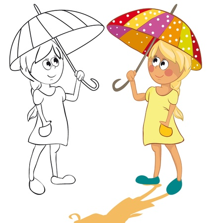 The girl and an umbrella from the sun. Color and outline illustrations Stock Vector - 9480221
