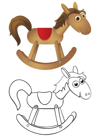 Wooden rocking horse - rocking chair. Color and outline illustrations