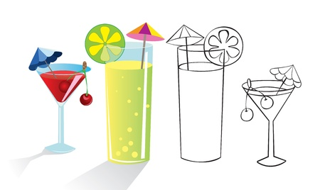 cocktail drinks: Glasses of drinks with umbrellas and fruit. Color and outline illustrations