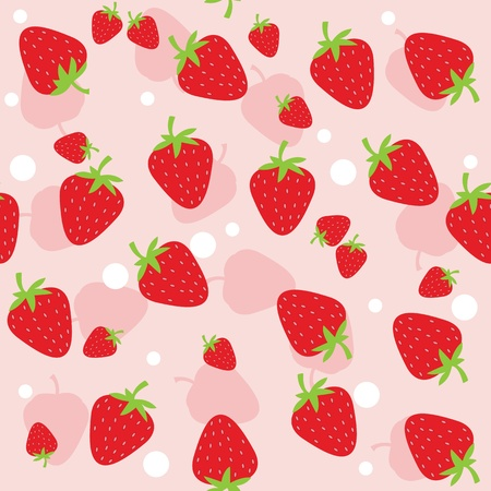 raspberry pink: Seamless background with strawberries. Vector illustration