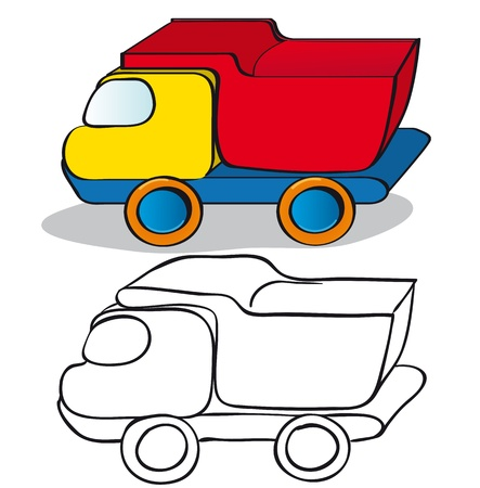Children toys car. Color and outline illustration Stock Vector - 9607445
