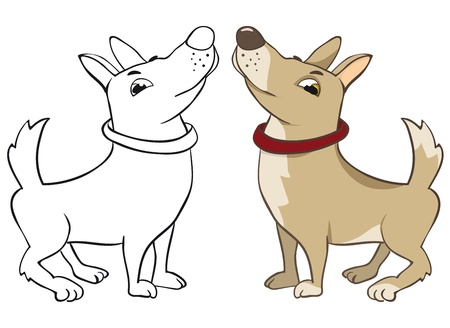 Funny dog. Color and outline vector image Stock Vector - 9607450