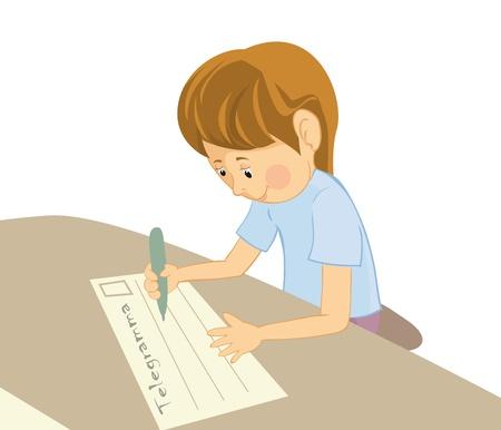 children writing: writing boy