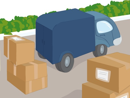 Truck and cargo Stock Vector - 9607458