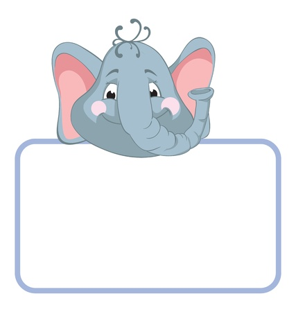 Baby animal banner. Elephant. Cartoon label. Stock Vector - 9607465