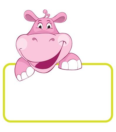 Baby animal banner. Hippo. Cartoon label.
