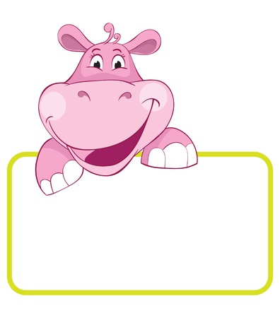 Baby animal banner. Hippo. Cartoon label. Vector