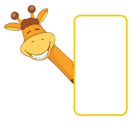 a giraffe: Baby animal banner. Giraffe.  Cartoon label.