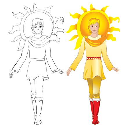 Sun man. Folklore person. Color and outline illustrations Stock Vector - 9934182