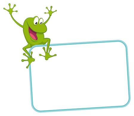 Label - joyful frog on the frame