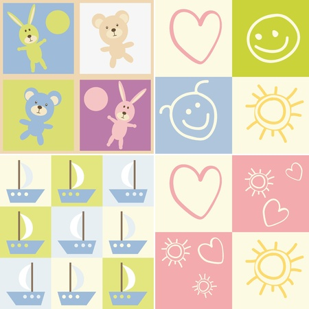 Baby seamless.Set of child patterns Vector