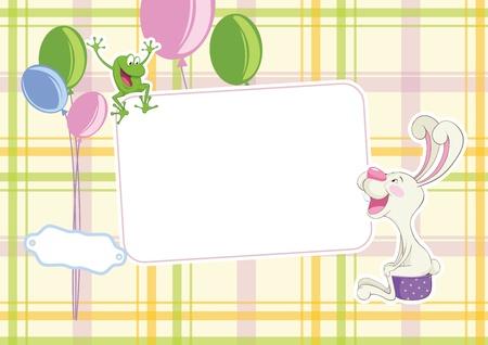 chamber pot: Baby frame - joyful frog and rabbit on a chamber-pot Illustration