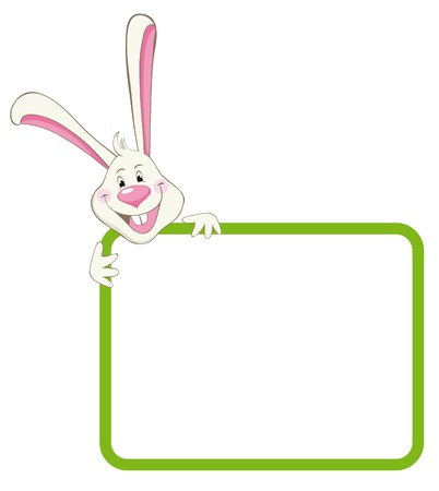 Label frame rabbit Illustration
