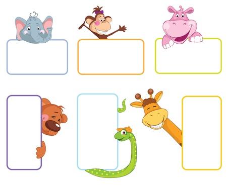 Baby animal banner. Cartoon label.
