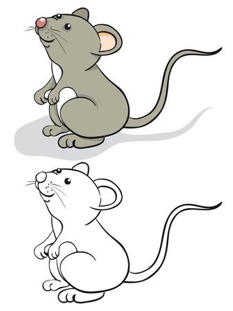 schattige dieren cartoon: Leuk muis. Kleur en contour