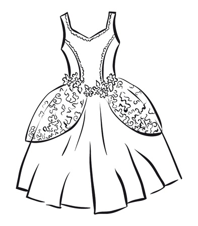 female form: Retro dress. Outline illustration. Illustration