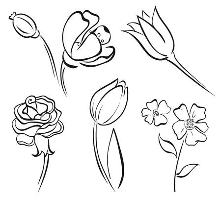 outline flower: Flower art line