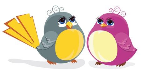 2 つの面白い鳥。カラー イラスト  イラスト・ベクター素材