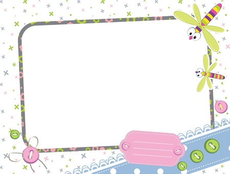 Photo frame with dragonfly  Ilustrace