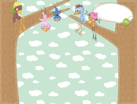 Baby frame background with birds Vector