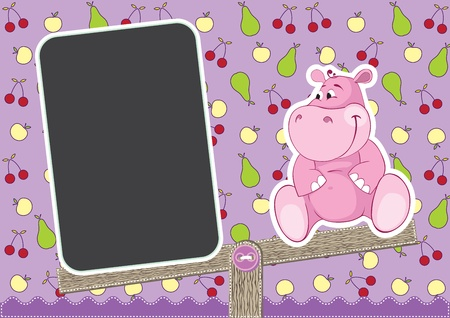 Baby Hippo on the swing Vector