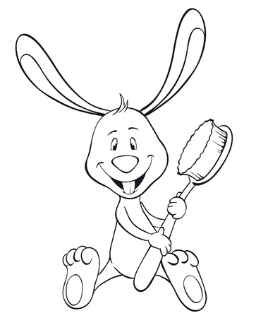 enamel: Bunny with toothbrush and happy tooth. Outline illustration Illustration