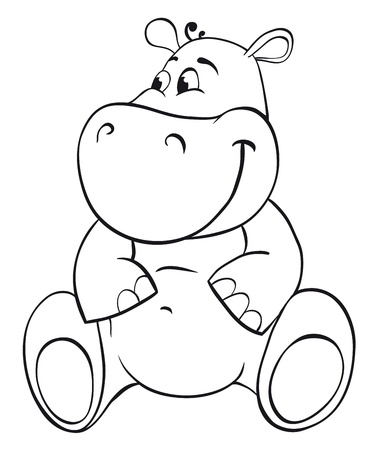 cartoon hippo: Behemoth. Outline illustration Illustration