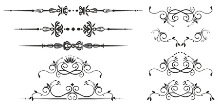 Decorative swirl elements. Vectorized ornate scroll Ilustrace