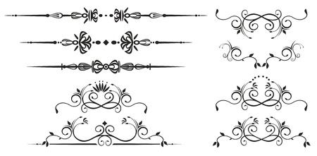 vectorized: Elementos decorativos del remolino. Desplazamiento adornado vectorizado Vectores