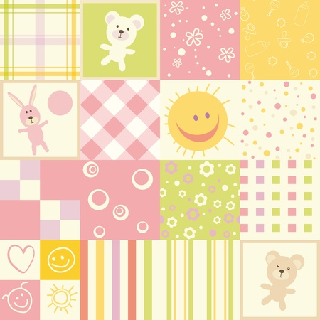 Baby seamless.Set of child patterns Illustration